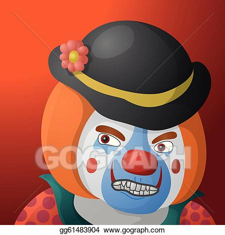 Vector art clown angry. Anger clipart sinist