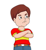 Boy sulking or station. Angry clipart angry expression
