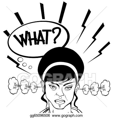 Angry clipart angry girl. Stock illustration gg gograph