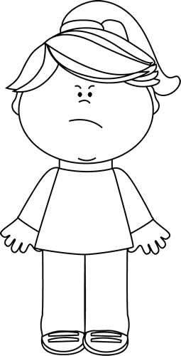 Black and white girl. Butter clipart angry