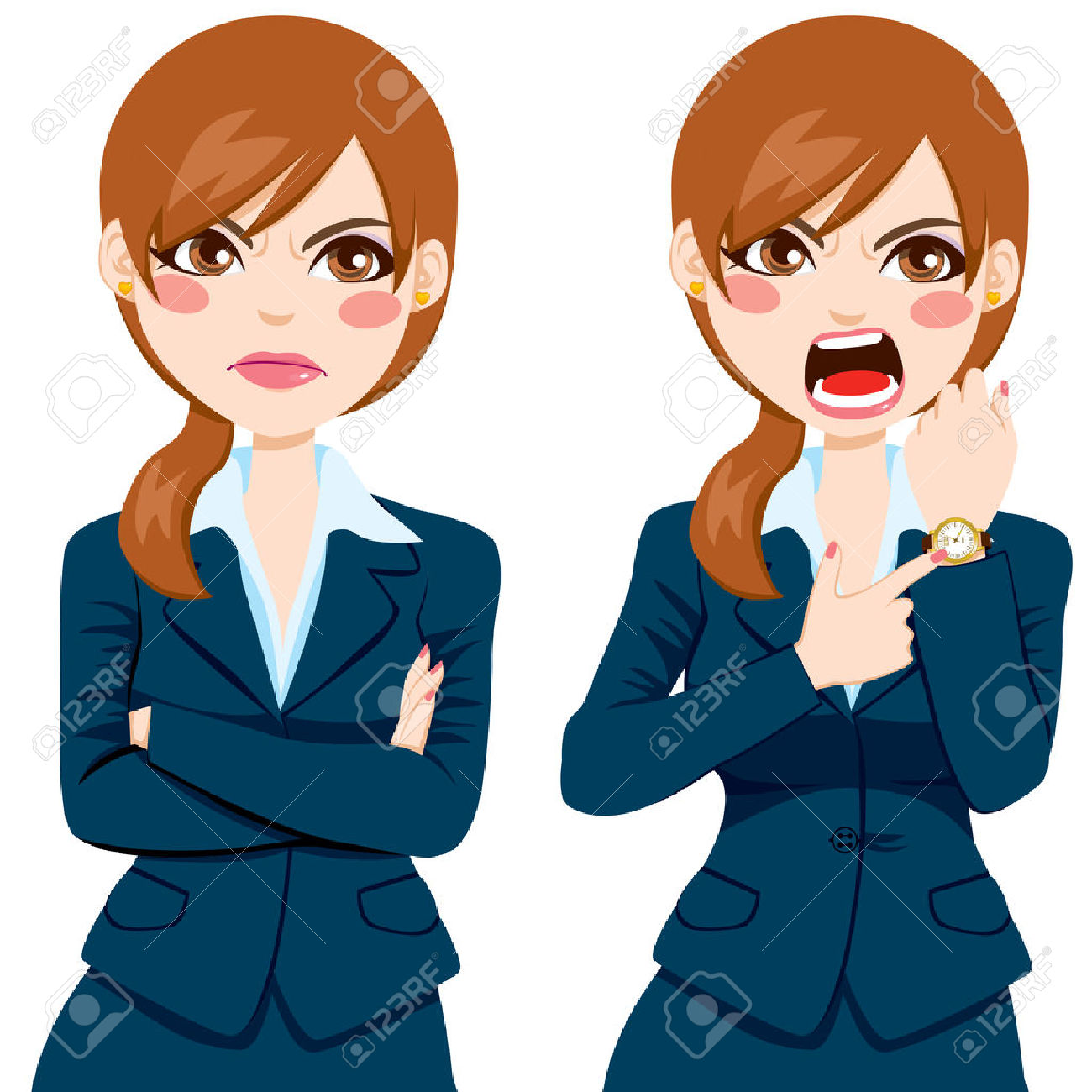 Angry clipart angry lady. Boss women cartoon