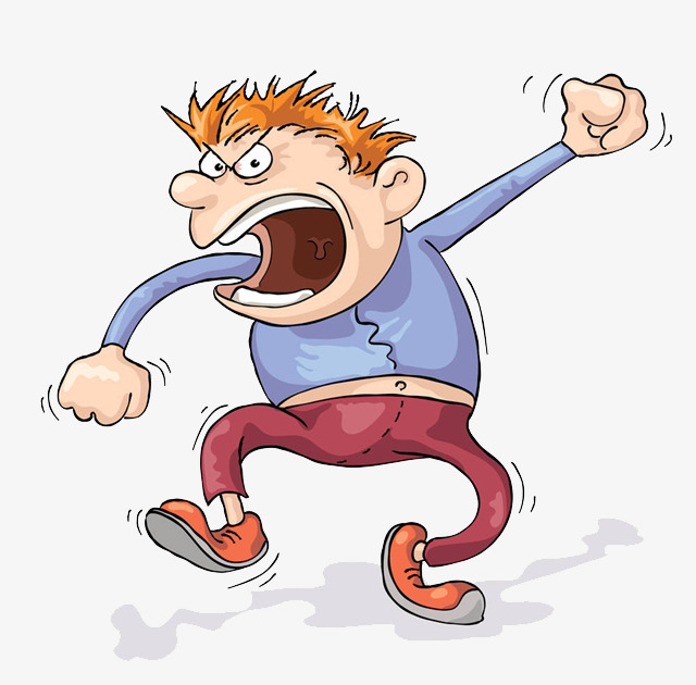 Cartoon hand drawing decorate. Angry clipart angry man