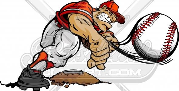 Baseball clipart baseball player. Cartoon pitcher vector image
