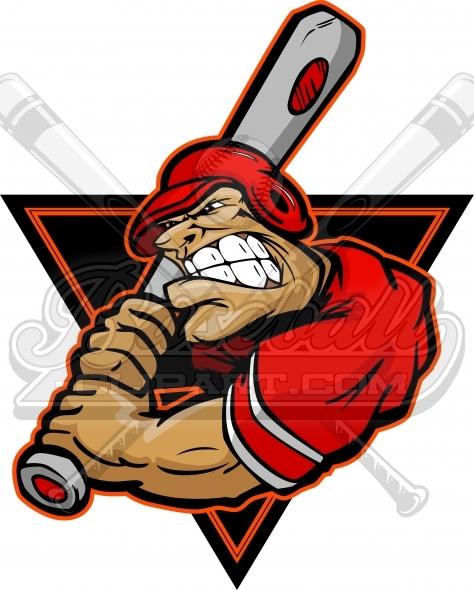 Angry clipart baseball. Batter cartoon vector image