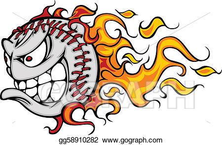 Angry clipart baseball. Vector illustration flaming or