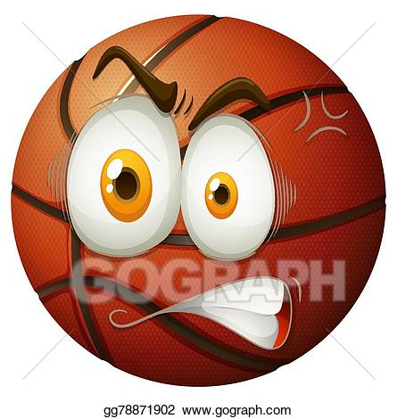 Eps illustration with face. Angry clipart basketball