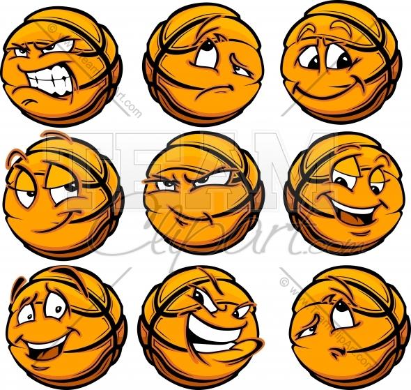 Cartoon face. Angry clipart basketball