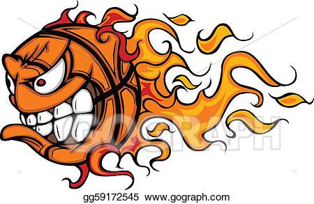 Angry clipart basketball. Vector flaming face cartoon