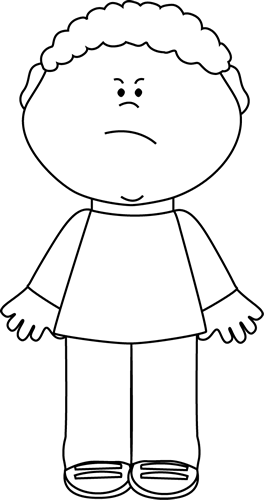 Body clipart boy's. Black and white angry