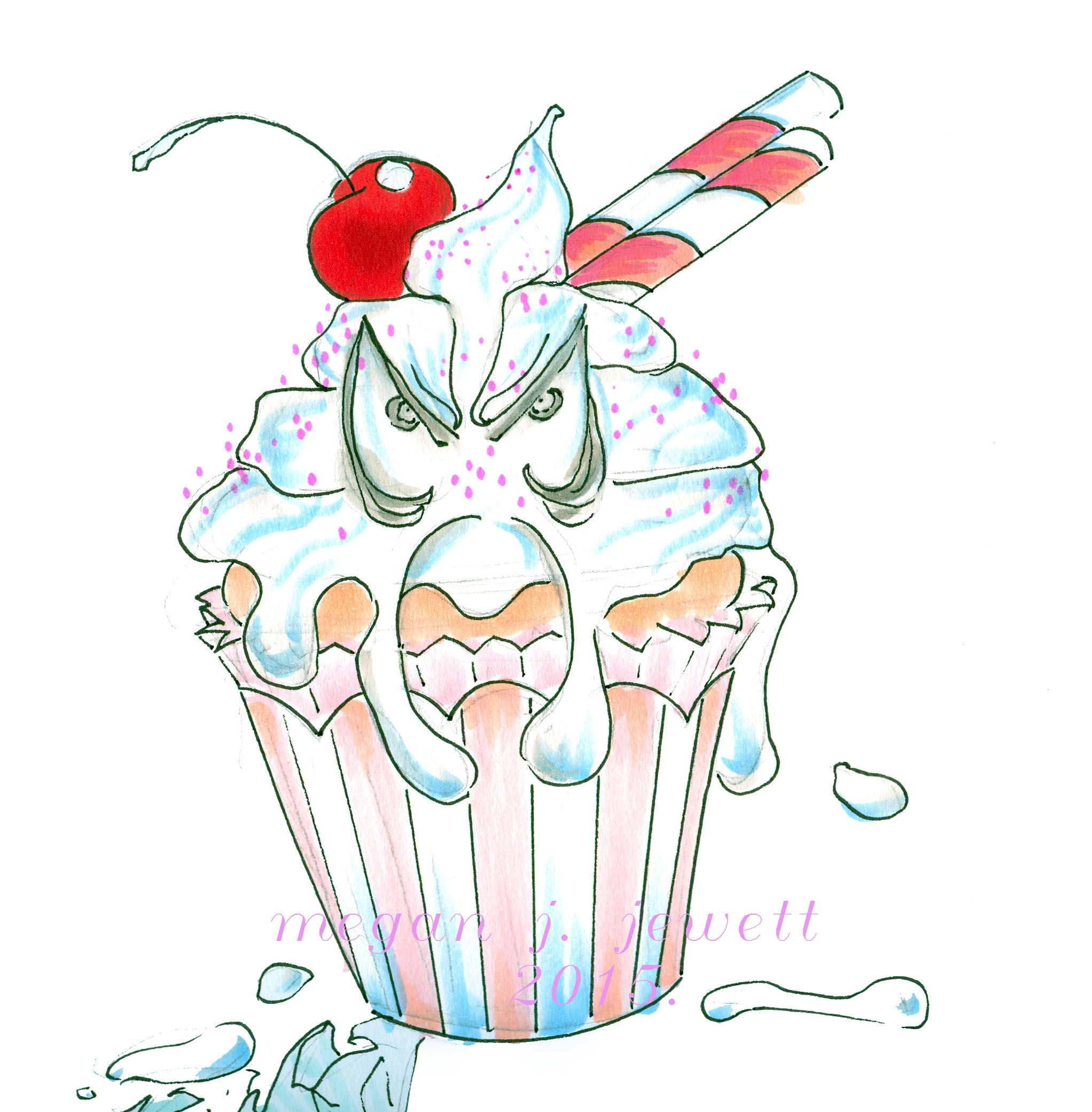Pen drawing for the. Angry clipart cupcake