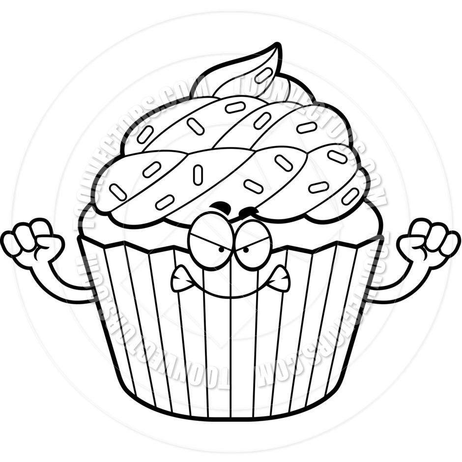 Angry clipart cupcake. Black and white panda