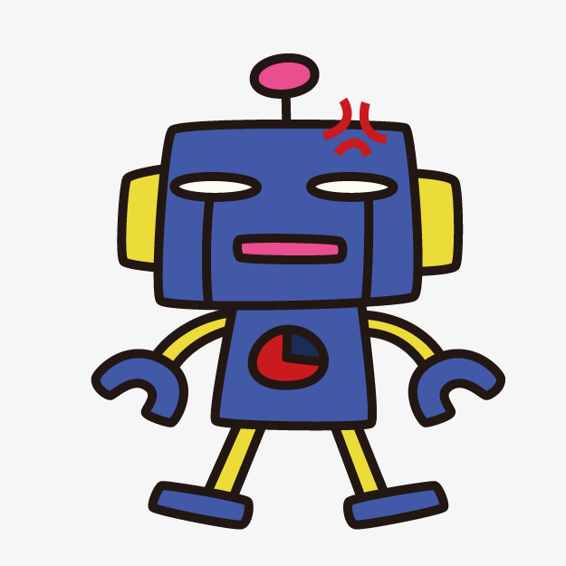 Cartoon robot png image. Angry clipart cute