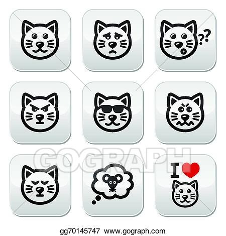 Angry clipart happy. Vector art cat buttons