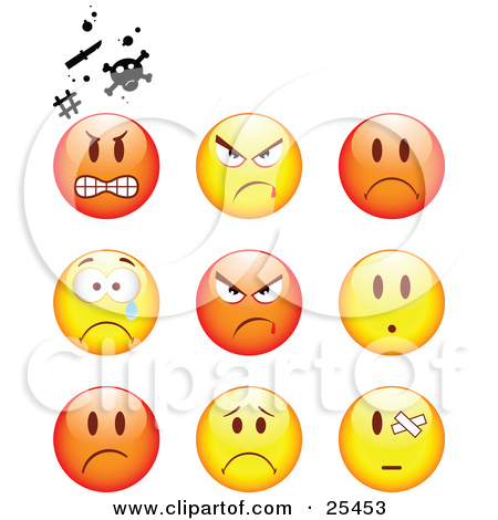 Angry clipart sad. Faces anger happy collection