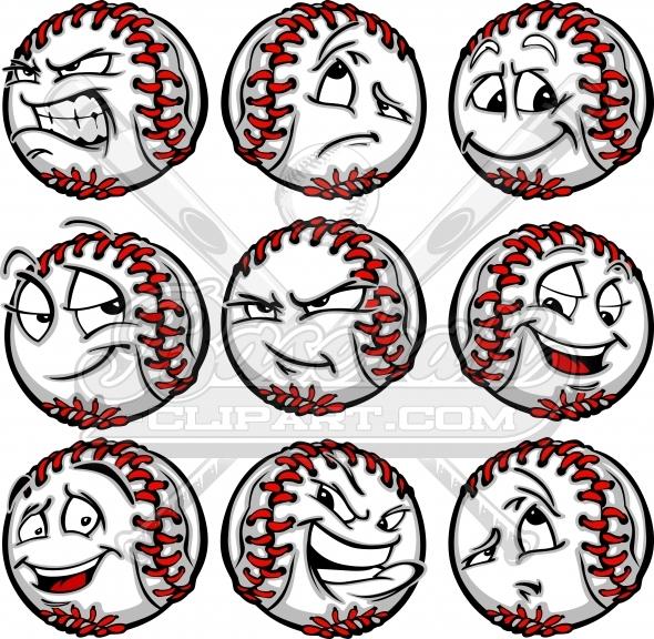 Baseball clipart cartoon. Faces angry happy mad