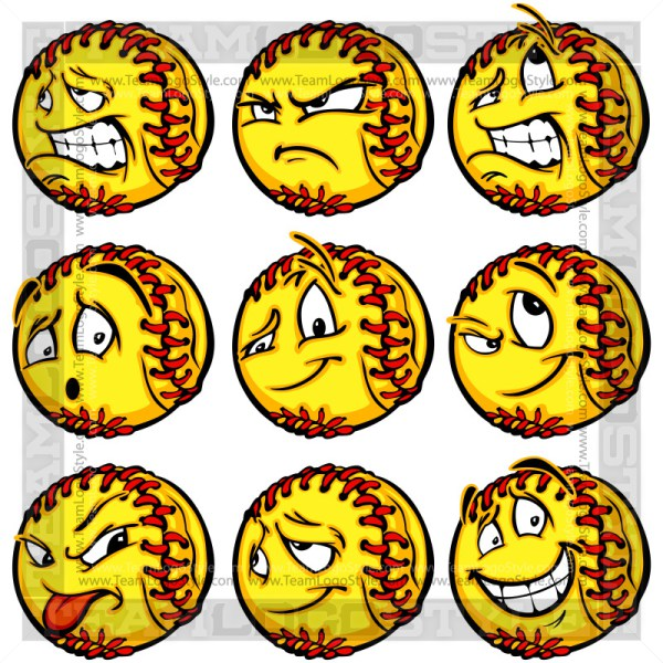 Vector softballs with crazy. Angry clipart softball