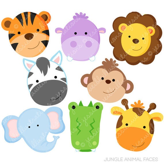 Animal clipart. Jungle faces cute digital