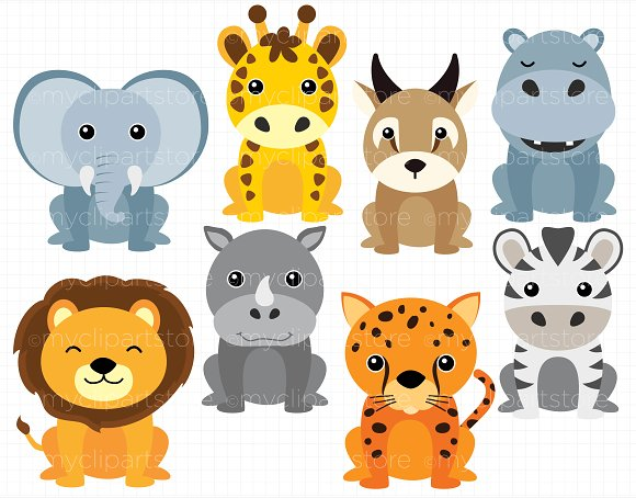 Animal clipart. African safari animals illustrations