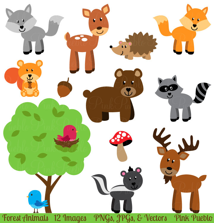 Forest clip art animals. Animal clipart