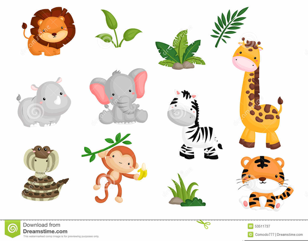Animals clipart baby shower. Jungle animal free images