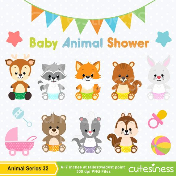 Animals clipart baby shower. Animal woodland
