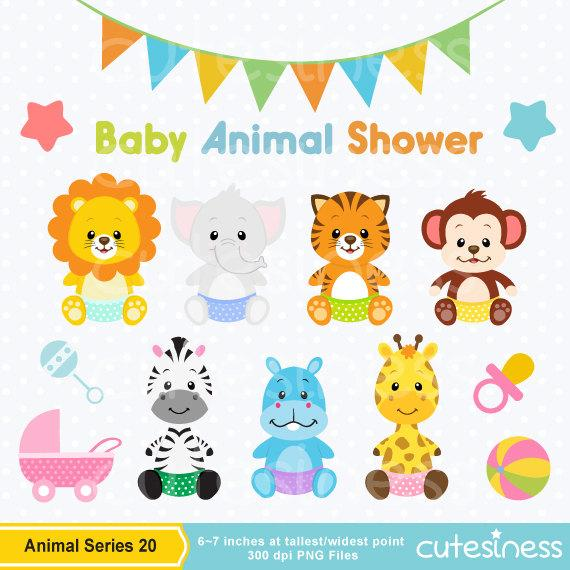 Animal clip art jungle. Animals clipart baby shower