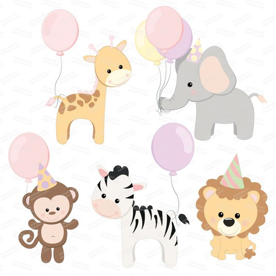 Professional birthday party vector. Animals clipart baby shower