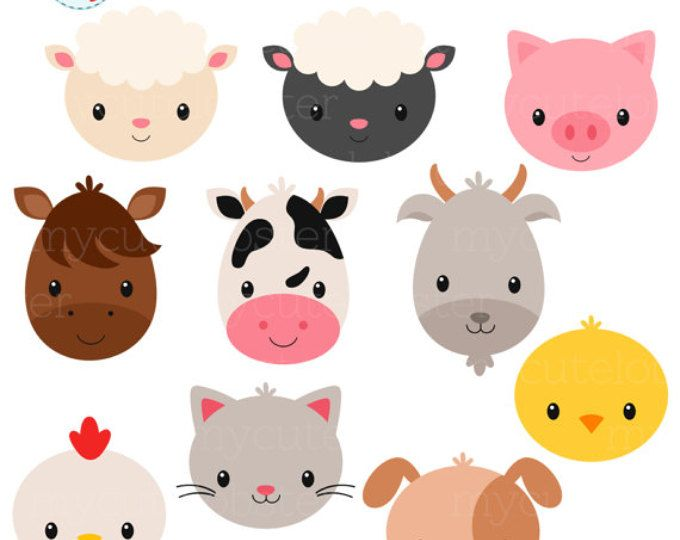Animals clipart barnyard. Farm animal head