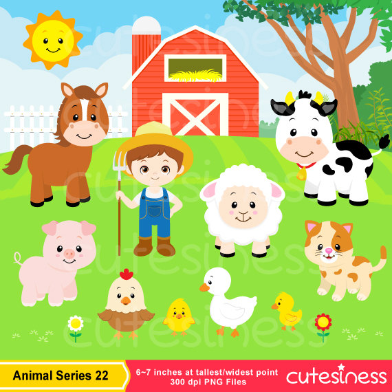 Animals set farmyard . Barn clipart animal farm