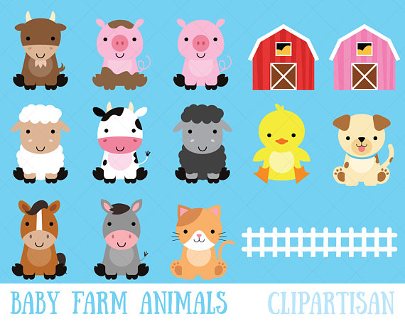 Animals clipart barnyard. Farm baby cute animal