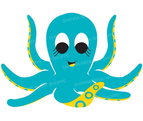 Animals clipart beach. Cute octopus nautical under