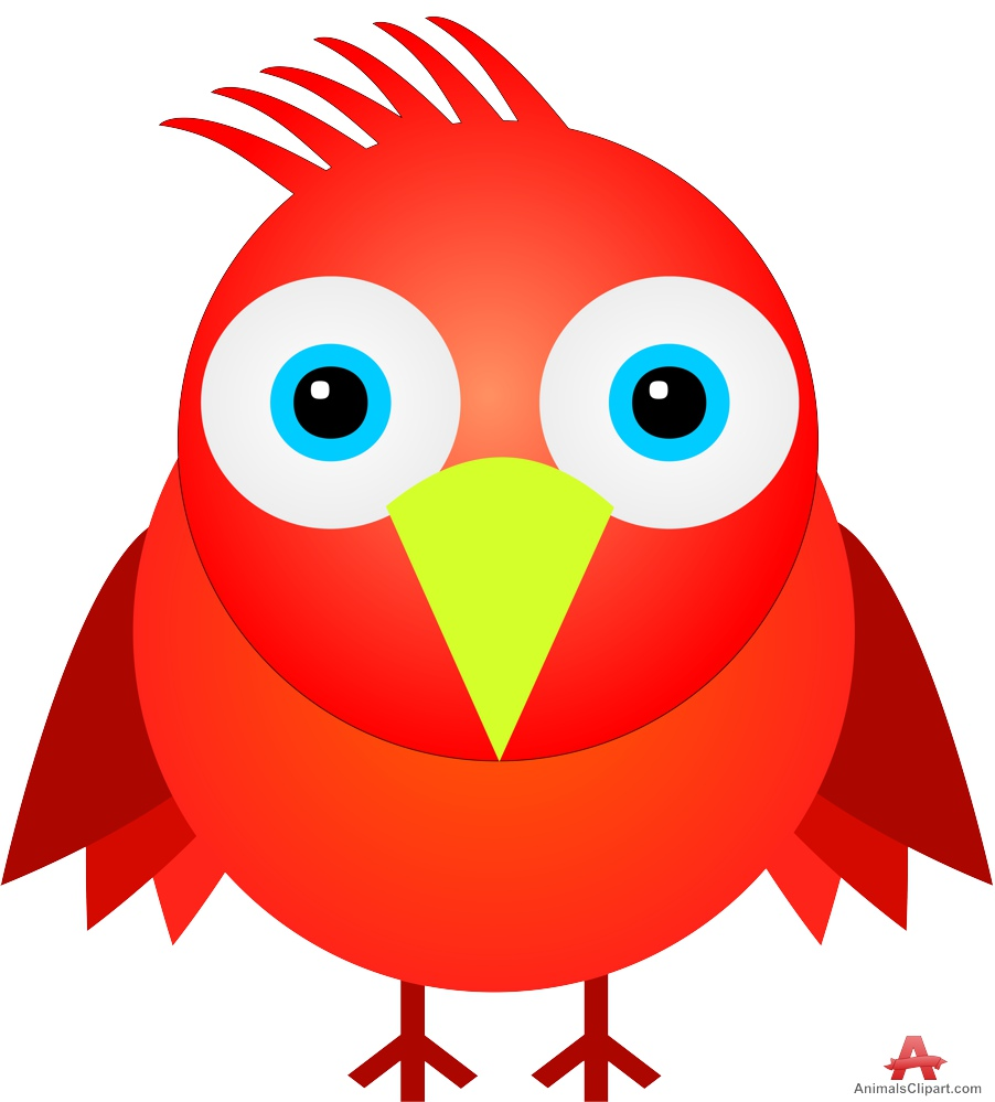 Animals clipart bird. Funny red free design