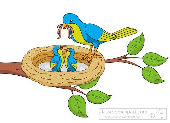 Nest clipart bird feeder. Animal mother feeding babies