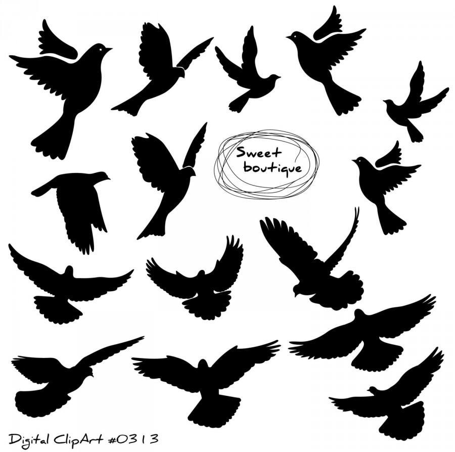 Birds digital bird clip. Art clipart silhouette