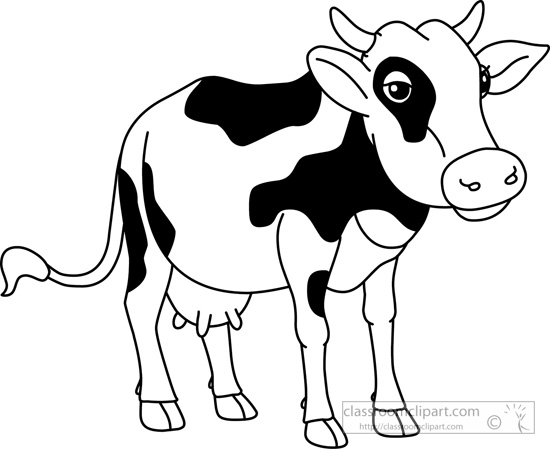 Animal drawing black and. Animals clipart cow