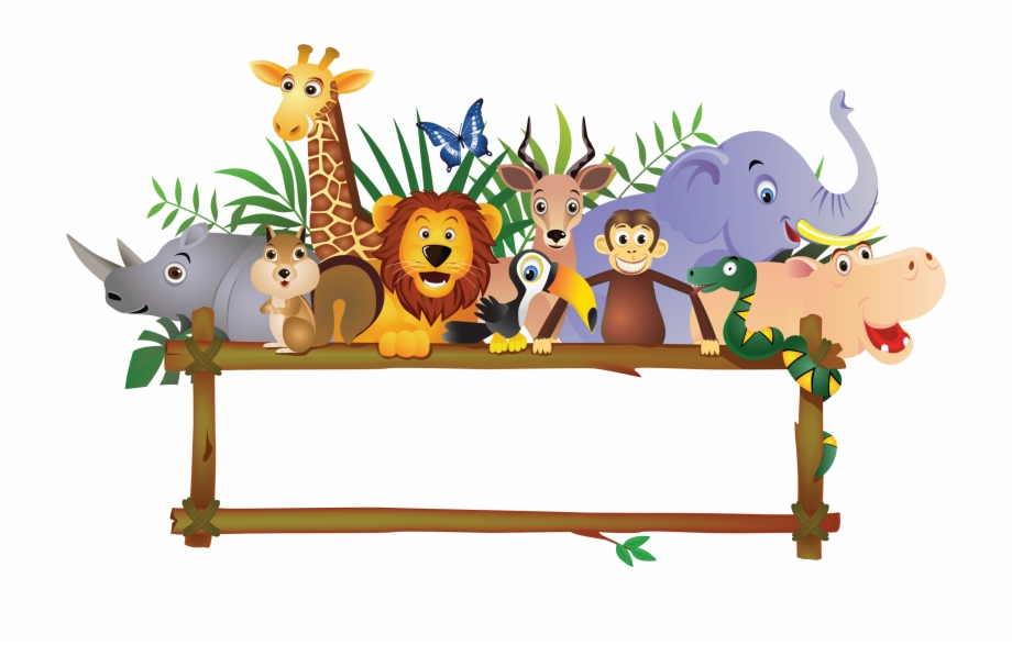Animals clipart boarder. Baby farm jungle royalty