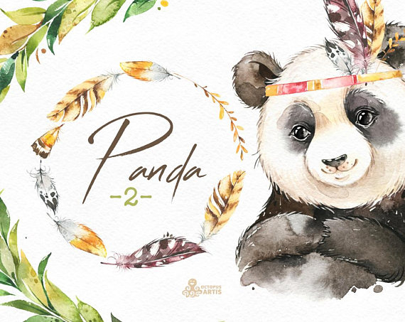 Boho clipart animal. Panda watercolor little feather