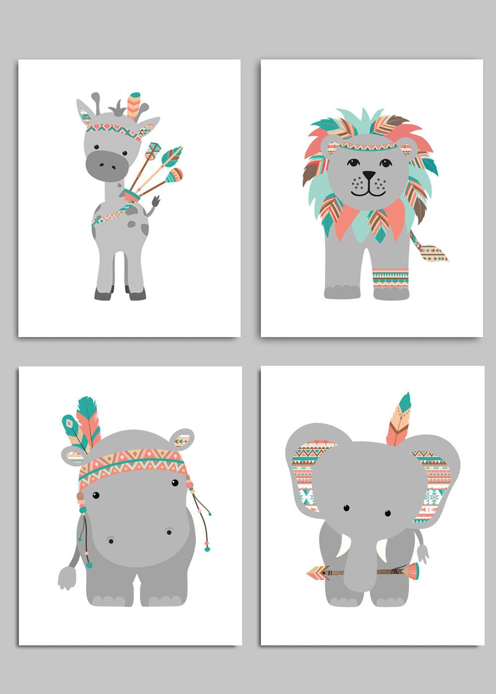 Tribal nursery art zoo. Boho clipart animal