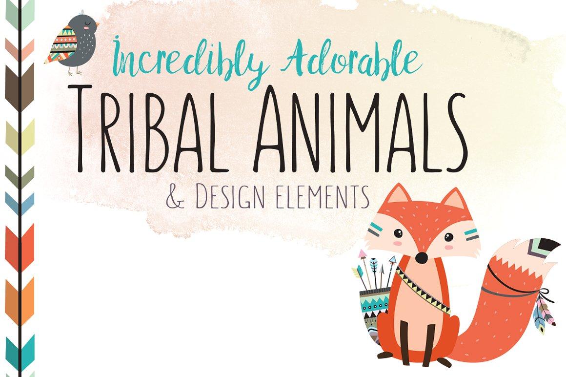 Huge tribal animal bundle. Animals clipart boho