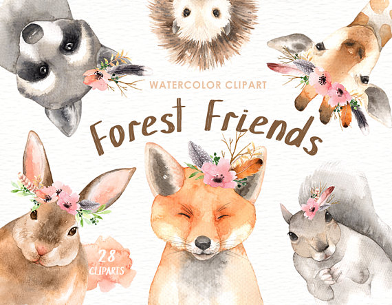 Animals clipart boho. Forest friends watercolor clip