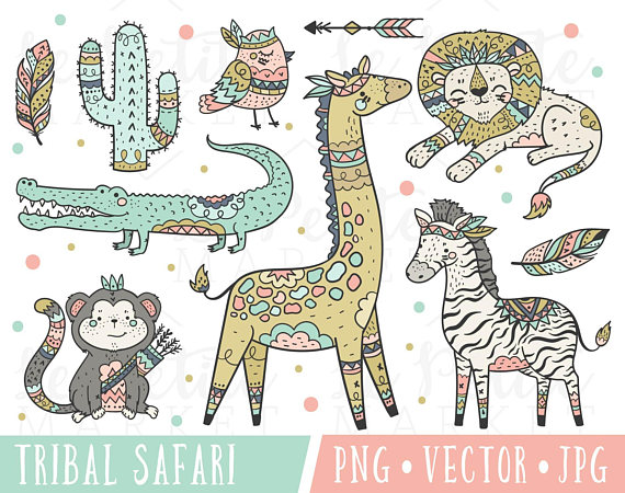 Cute safari animals tribal. Boho clipart animal