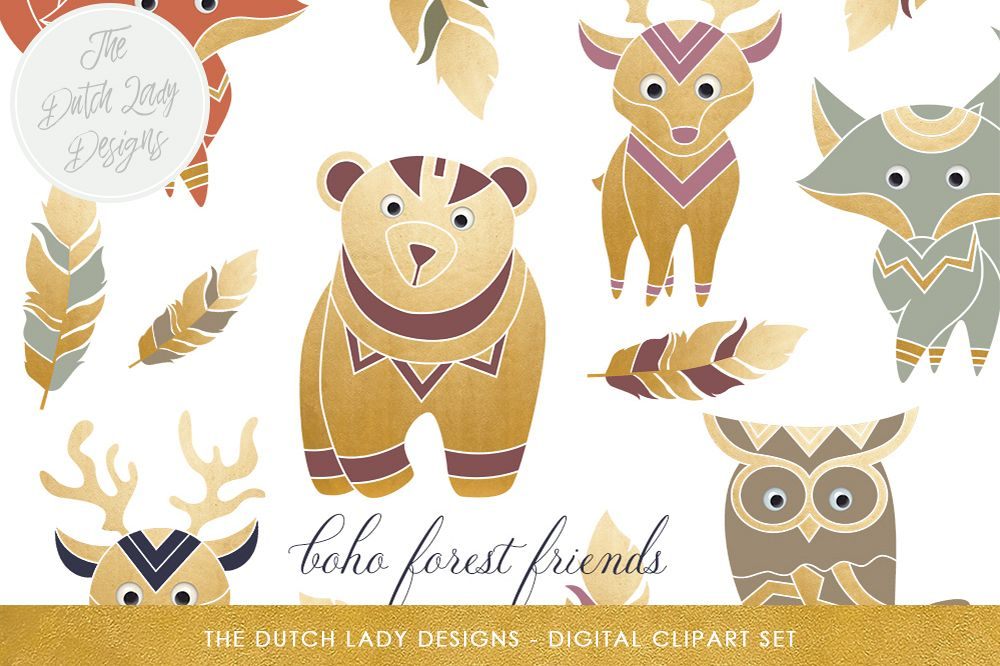 Forest set by the. Animal clipart boho