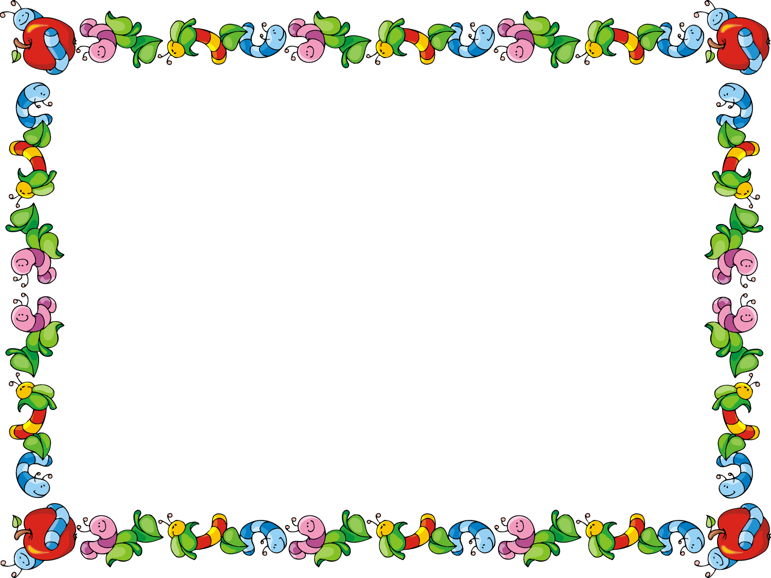 Worm clipart border. Free page borders for