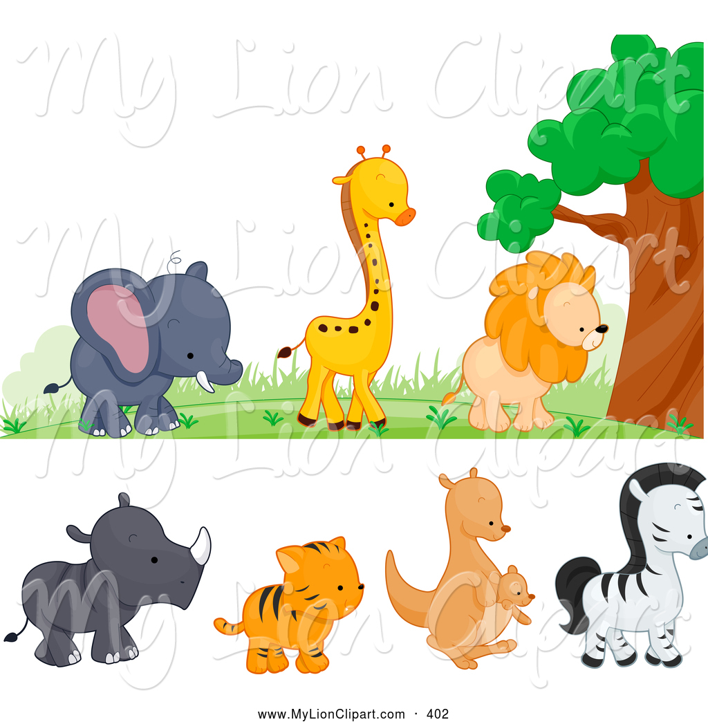 Of a cute wild. Animals clipart borders