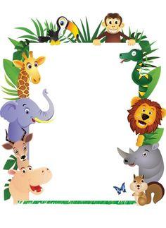 Printable jungle border free. Animals clipart borders