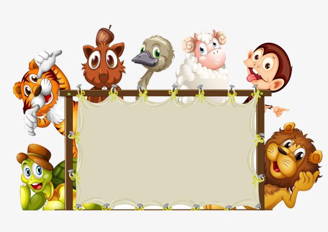 Animals clipart borders. Animal border rectangle cartoon