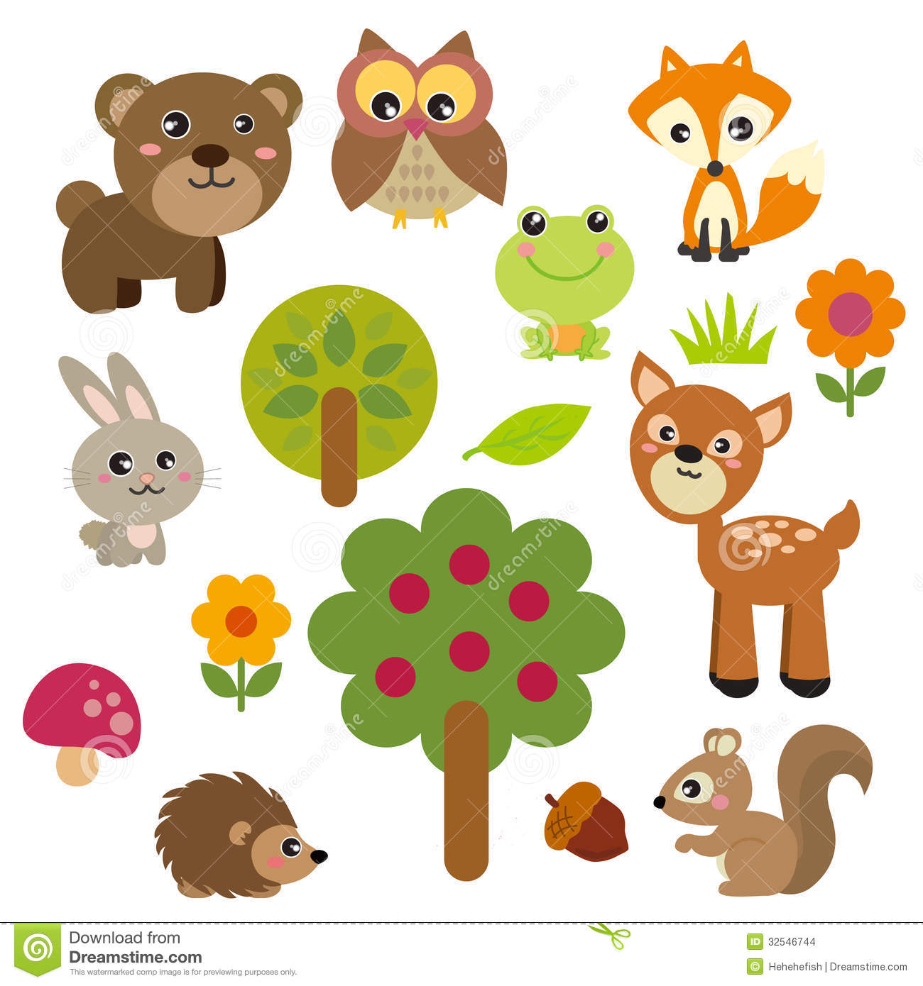 Animals clipart cute. Forest animal