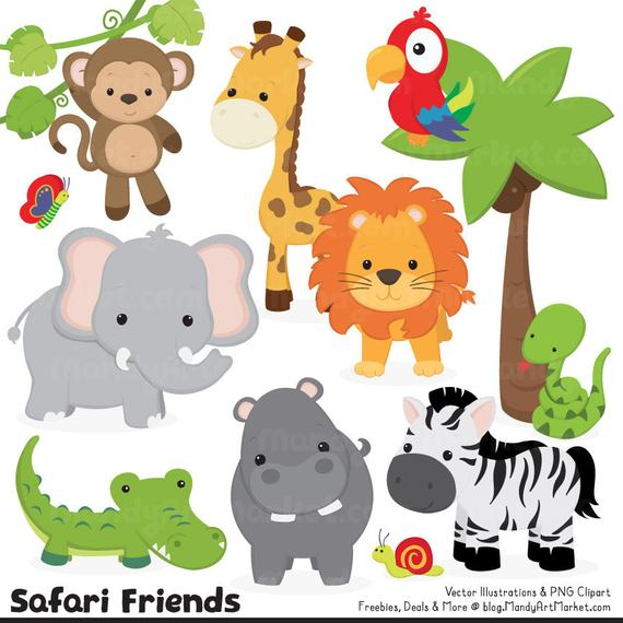 Cute jungle animal safari. Monkey clipart elephant