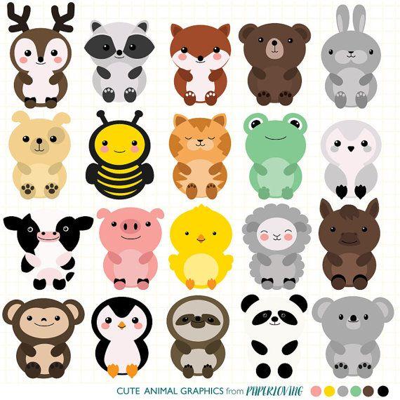 Animal set mega pack. Animals clipart cute