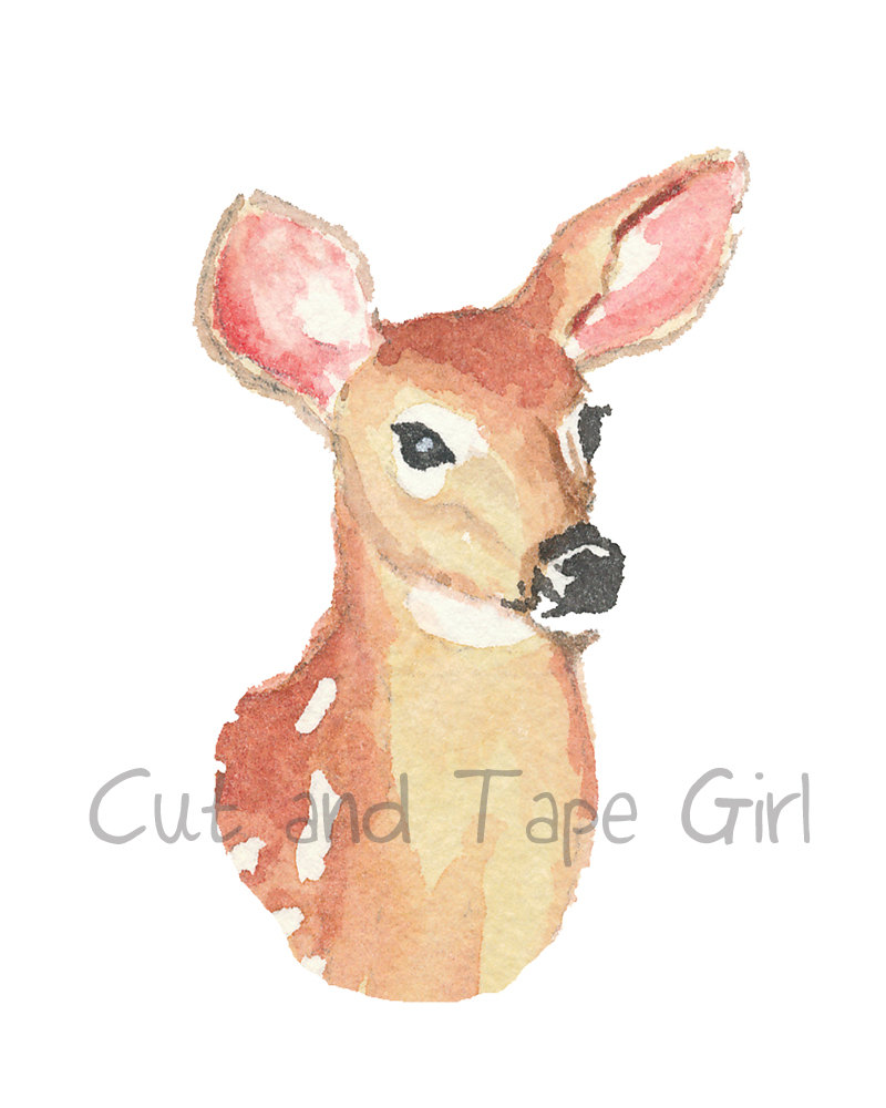 Animals clipart deer. Watercolour clip art doe
